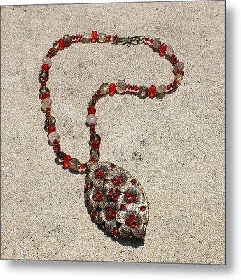 Vintage Ruby Rhinestone Flower Brooch Pendant Necklace 3633 Metal Print