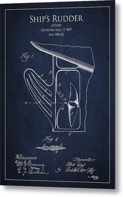 Vintage Rudder Patent Drawing From 1887 Metal Print by Aged Pixel
