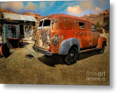 Vintage Rusty Chevy Panel Truck Metal Print by Brenda Giasson