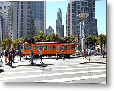 Vintage San Francisco Street Car On The Embarcadero 5d25384 Metal Print by Wingsdomain Art and Photography