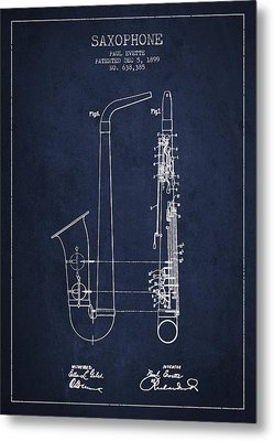 Saxophone Patent Drawing From 1899 - Blue Metal Print