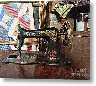 Vintage Sewing Machine Metal Print