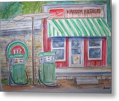Vintage Sinclair Gas Station Metal Print by Belinda Lawson