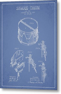 Vintage Snare Drum Patent Drawing From 1889 - Light Blue Metal Print by Aged Pixel