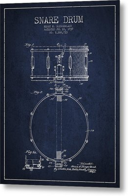 Snare Drum Patent Drawing From 1939 - Blue Metal Print by Aged Pixel