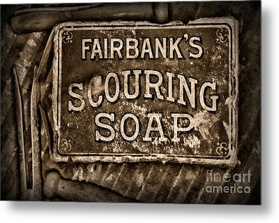 Vintage Soap In Sepia Metal Print