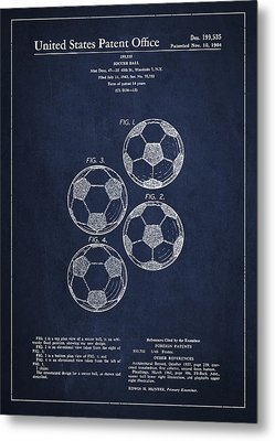 Vintage Soccer Ball Patent Drawing From 1964 Metal Print