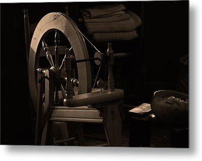 Vintage Spinning Wheel Metal Print