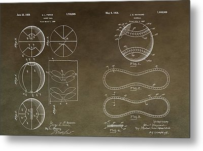 Vintage Sports Patent Drawing Metal Print by Dan Sproul