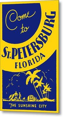 Vintage St. Petersburg Florida Poster Metal Print