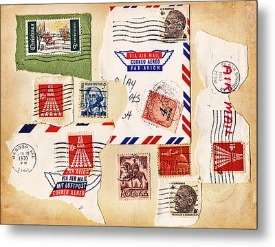 Metal Print featuring the photograph Vintage Stamps On Old Postcard by Vizual Studio