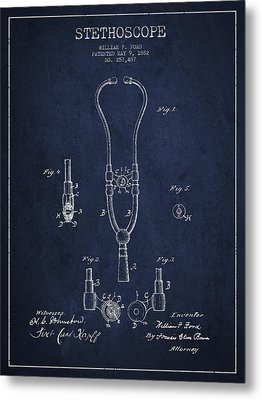 Vintage Stethoscope Patent Drawing From 1882 - Navy Blue Metal Print by Aged Pixel