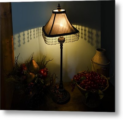 Vintage Still Life And Lamp Metal Print