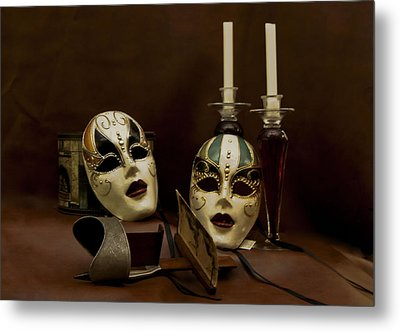 Vintage Still Life Of Venitian Mask Metal Print