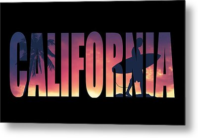Vintage Style California Postcard Metal Print by Mr Doomits