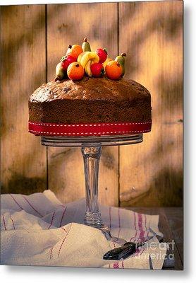 Vintage Style Fruit Cake Metal Print