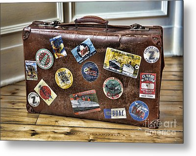 Metal Print featuring the photograph Vintage Suitcase With Labels by Craig B