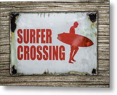 Vintage Surfer Crossing Sign On Wood Metal Print by Mr Doomits