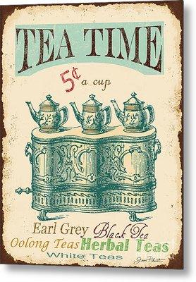 Vintage Tea Time Sign Metal Print