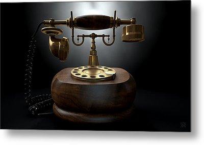 Vintage Telephone Dark Isolated Metal Print