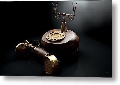 Vintage Telephone Dark Off The Hook Metal Print
