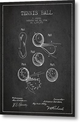 Vintage Tennnis Ball Patent Drawing From 1914 Metal Print by Aged Pixel