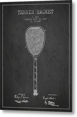 Vintage Tennnis Racket Patent Drawing From 1887-dark Metal Print by Aged Pixel