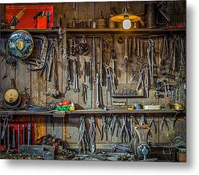 Vintage Tools Workshop Metal Print by Mr Doomits