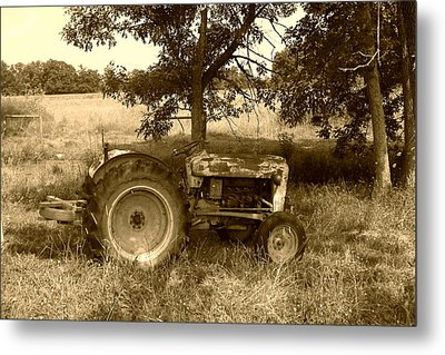Metal Print featuring the photograph Vintage Tractor In Sepia by Cynthia Lassiter