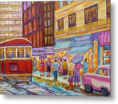 Vintage Tram Car-montreal Downtown Scene-classic Chevy Car Metal Print by Carole Spandau