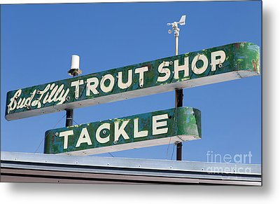 Vintage Trout Shop Sign West Yellowstone Metal Print by Edward Fielding