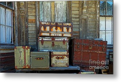 Vintage Trunks   Sold Metal Print by Marcia Lee Jones