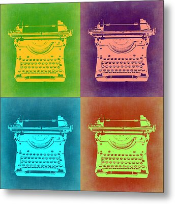 Vintage Typewriter Pop Art 1 Metal Print