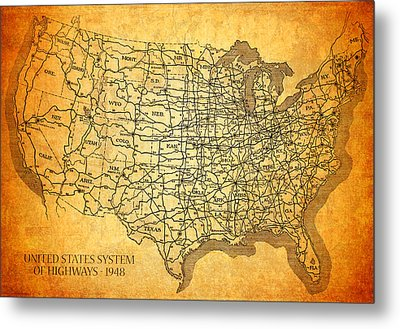 Vintage United States Highway System Map On Worn Canvas Metal Print by Design Turnpike