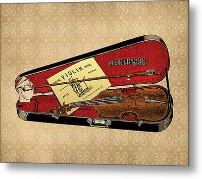 Vintage Violin Illustration Metal Print by Flo Karp