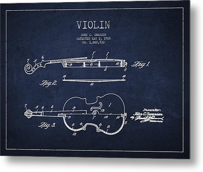 Vintage Violin Patent Drawing From 1928 Metal Print