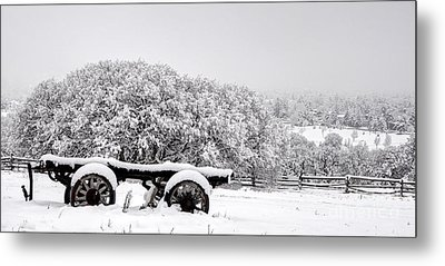Vintage Wagon In Snow And Fog Filled Valley Metal Print by Gary Whitton