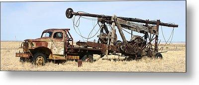 Vintage Water Well Drilling Truck Metal Print