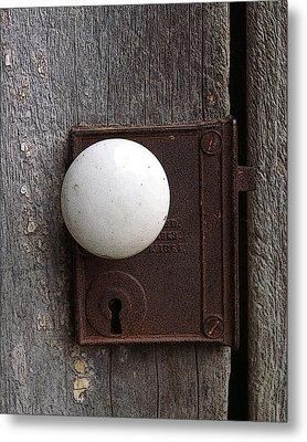 Vintage White Doorknob Metal Print