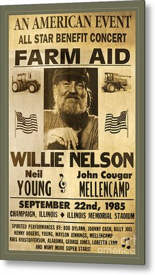 Vintage Willie Nelson 1985 Farm Aid Poster Metal Print