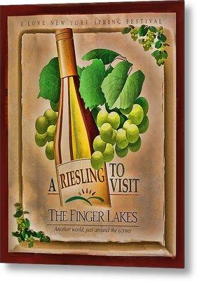 Vintage Wine Poster Metal Print by Linda Phelps