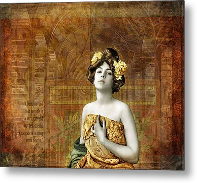Vintage Woman In Library Metal Print by Cat Whipple