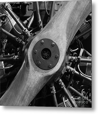 Vintage Wood Propeller - 7d15828 - Square - Black And White Metal Print by Wingsdomain Art and Photography
