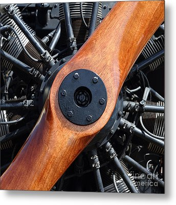Vintage Wood Propeller - 7d15828 - Square Metal Print by Wingsdomain Art and Photography