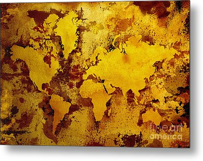 Vintage World Map Metal Print