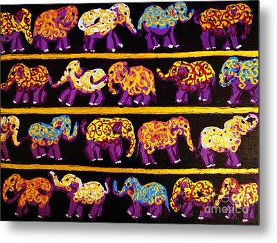 Violet Elephants Metal Print