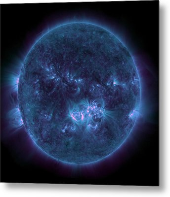 Violet Teal Sun Metal Print by Sunny Day