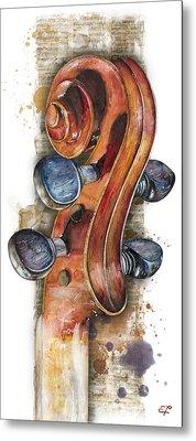 Violin 02 Elena Yakubovich Metal Print by Elena Yakubovich