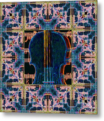 Violin Abstract Window - 20130128v1 Metal Print by Wingsdomain Art and Photography