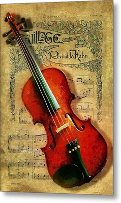 Metal Print featuring the painting Violin And Notes by Kai Saarto